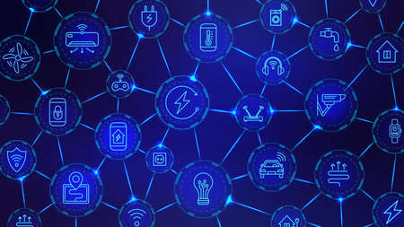 Iot digital chain. Wireless technology, connected devices and smart house network. Internet of things industry futuristic vector background