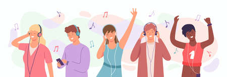 People enjoy music. Man and woman in headphones dancing. Happy teenagers listen songs on mobile. Radio music podcast cartoon vector concept
