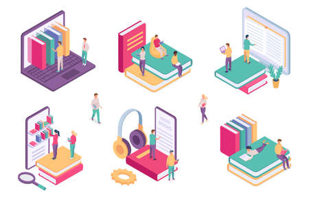 Isometric online library. Ebook dictionary digital archive for student. School book on phone or computer. Web literature learning vector set 向量圖像