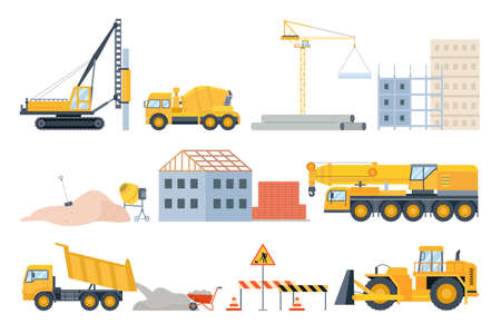 Construction site elements. Material piles, sand and pipes, brick building and machinery. Cement mixer truck, bulldozer and crane vector set