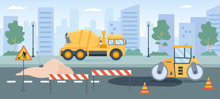 Road works. Pavement repair with asphalt roller, concrete mixer and street barriers. City roads maintenance service machines vector concept 向量圖像