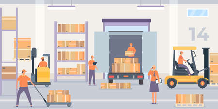 Warehouse interior. Rack and shelf with parcel boxes, workers and forklift with goods. Wholesale stockroom, logistic service vector concept