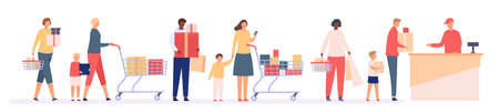 Queue in shop. Supermarket store with customers in long line to cashier. People with shopping bag and boxes. Discount in mall vector concept 向量圖像