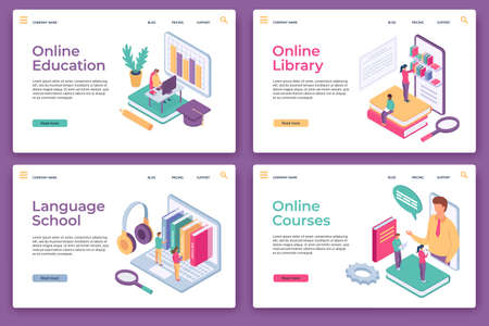 Online education landing pages. Isometric distance learning, home study, web library, language school and courses, website page vector set 向量圖像