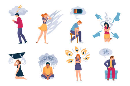 Depressed people. Exhausted lonely sad woman and man with anxiety, depression, mental disorders and stress. Psychology problems vector set