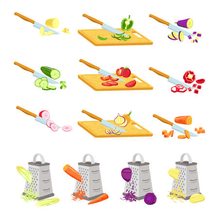 Cut vegetables on board. Knife chopping onion, tomato and radish on wooden boards. Grater rub carrot. Recipe cooking slices steps vector set 向量圖像