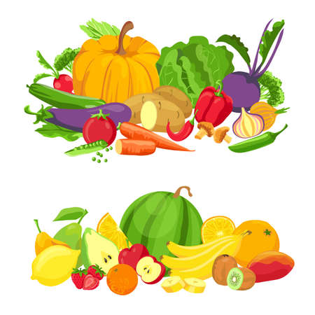 Vegetables and fruits groups. Organic fresh food. Natural farm green products. Cartoon tropical fruit for juice. Healthy diet vector concept