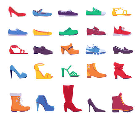 Shoes and boots. Summer and autumn fashion footwear for man or woman. Casual and formal leather shoe, sneakers and pumps, flat vector set 向量圖像