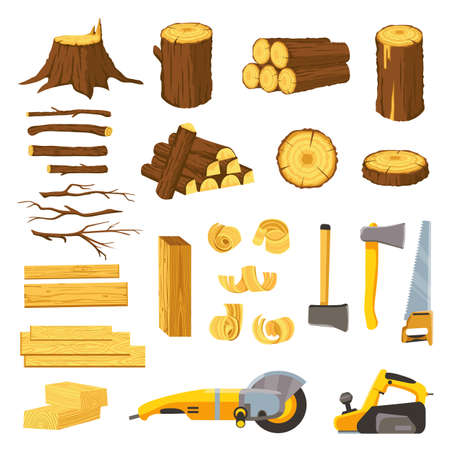 Lumber industry materials and tools. Wood planks, logs, board and tree chips. Axe, chisel, saw, grinder and belt sander. Woodwork vector set 向量圖像