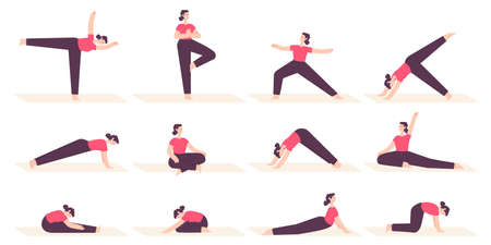 Woman in yoga poses. Female cartoon character do fitness stretch exercises, pilates and relax in asana position. Health lifestyle vector set 向量圖像