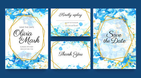 Watercolor wedding invite cards. Blue and gold invitation templates with liquid paint splatters and golden frames. Save the date vector set