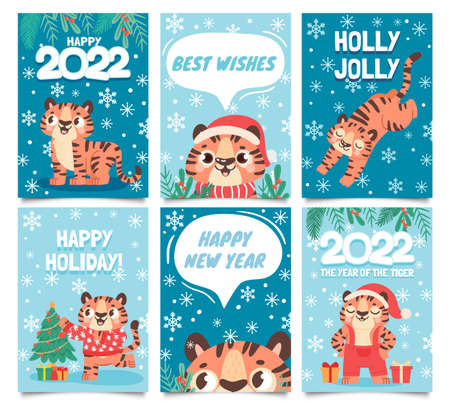 New year 2022 cards. Merry christmas poster with cartoon tiger decorate tree. Baby tigers in santa hat. Happy holidays greeting vector set