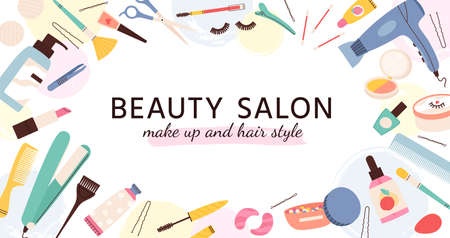 Beauty salon banner. Poster for hairdresser, makeup artist and nail salons with cosmetics and skin care products, fashion vector template 向量圖像
