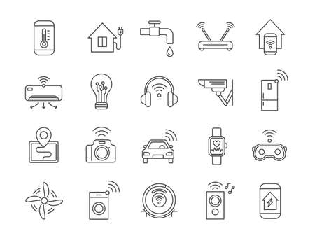 Iot line icons. Internet of things wireless technology, house appliances, car, gadgets and devices. Smart home automation systems vector set 向量圖像