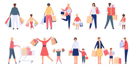 Shopping families. Man, woman and kids with store cart, bags and boxes. Shopper characters on holiday sale. Flat consumers people vector set