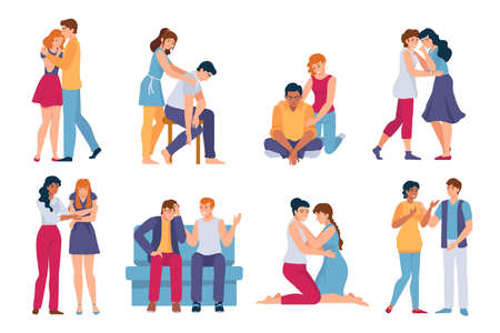 Friends comforting. Mental support for stressed, sad and depressed people. Family hug, care and comfort. Woman and man in sorrow vector set 向量圖像
