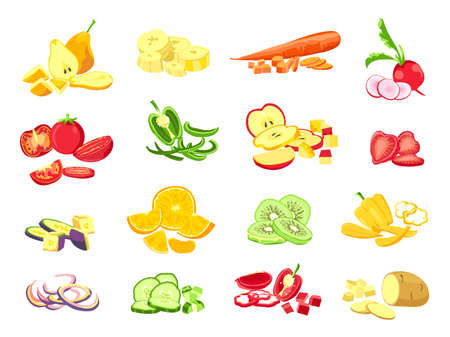 Sliced fruit and vegetable. Cartoon vegetarian food cutted slices, rings and pieces. Fruits half cut of orange, apple and banana vector set