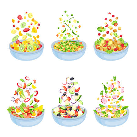 Vegetable salad. Healthy vegetarian dish explosion. Floating fruit slices and pieces. Bowl with salad leaf, cucumber and tomato, vector set