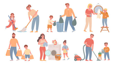 Kids and parents cleaning. Children helps adults with housework, sweeping, do laundry, throw out garbage. Cartoon family chores vector set