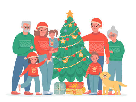 Big christmas family. Grandma, grandpa, mom and dad, kids and dog in sweaters and santa hat. Vector family portrait with decorated pine tree