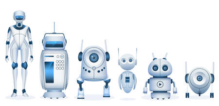 Cartoon robot. Futuristic droids and machine with artificial intelligence technology. Realistic kids toy robots and cute androids vector set