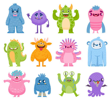 Funny monsters. Cartoon cute and scary creatures with horns and teeth. Halloween monster and alien characters. Friendly monsters vector set Ilustração