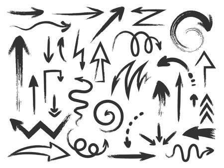 Grunge arrow. Rough textured zig zag arrows and curved direction pointers. Doodle paint stroke and sketch scribble arrow brushes vector set
