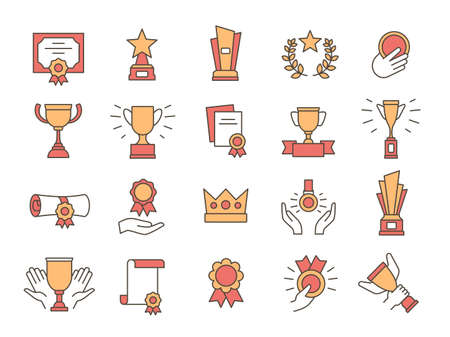 Trophy icons. Award winner golden cups and prize. Premium quality certificate, diploma with medal and ribbon. Success line symbol vector set Ilustração