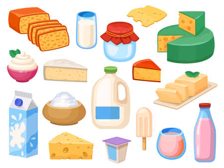 Milk products. Milky drinks in glass, box and galon, yogurt, whipped and sour cream, cheese types and butter. Farm fresh dairy vector set Ilustração