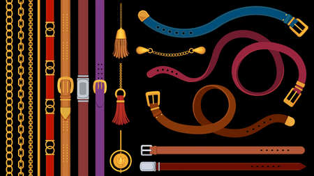 Chain belts. Brushes golden chains and leather belt with metal buckle. Jewelry pendant, fringe, strap and braids. Fashion element vector set Ilustração