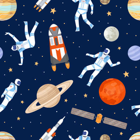 Outer space seamless pattern. Print with dancing astronaut, spaceships, satellite, stars and planets. Cosmic adventure flat vector texture Ilustração