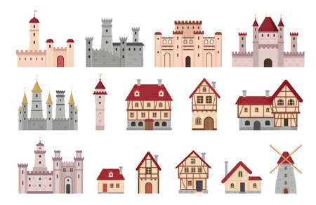 Medieval buildings. Ancient european town and village house, cottage and windmill. Cartoon tower, castle and palace. Architecture vector set Ilustração
