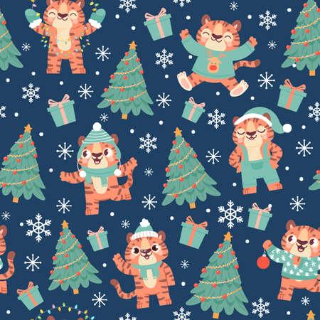 Christmas tiger seamless pattern. Cute cartoon tigers in santa hat with xmas tree, snowflake and gift box. New year 2022 animal vector print