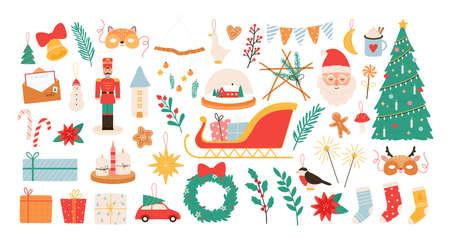 Christmas cartoon decorations and toys. New year and merry xmas decor elements, nutcracker, mistletoe, socks and santa stickers vector set Ilustração