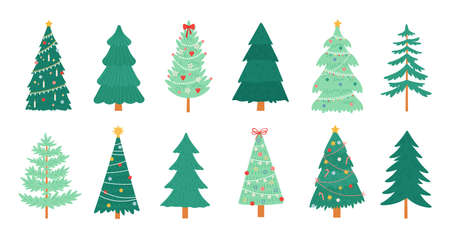 Christmas trees. Merry xmas decorated tree with candles, candy, toys, star and tinsel. New Year traditional winter holiday pine vector set Ilustração