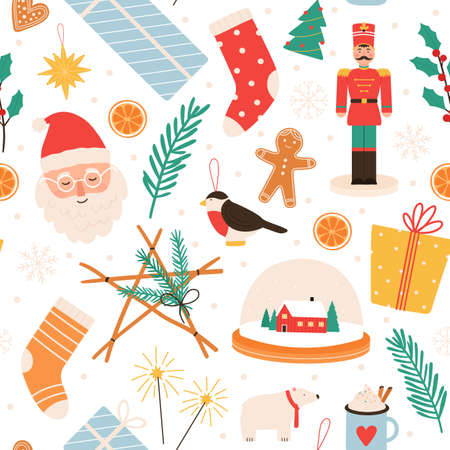 Christmas seamless pattern. Merry winter holidays and Happy New Year with gifts, gingerbread, santa, nutcracker and tree toys, vector print Ilustração