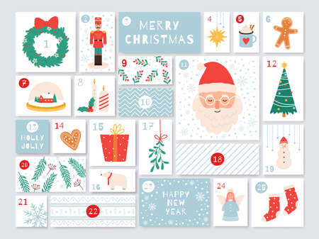 Christmas advent calendar. December days countdown with presents. Holidays cute handicraft calendar with numbers and boxes vector template