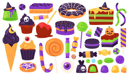 Halloween sweets. Trick or treats candies and dessert with spooky decoration, witch hat, pumpkin, spider web. Autumn kids holiday vector set