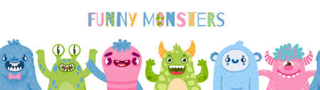 Halloween monsters banner. Happy monster party with cute characters. Cartoon scary funny monster and aliens for kids birthday vector poster Ilustração