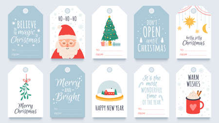Christmas tag. Merry winter holidays gift tags with greetings, santa, mistletoe and tree. Happy new year and xmas present labels vector set