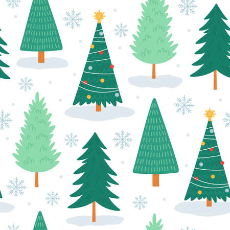 Christmas tree seamless pattern. Noel print with snowflakes, xmas decorated and forest pine trees. Winter holiday cute tree vector wallpaper Ilustração