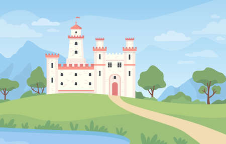 Landscape with medieval castle. Cartoon fantasy royal palace with towers. Old kingdom building, green meadow, pond and blue sky vector scene Ilustração
