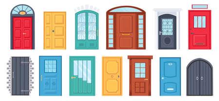 Retro doors. Cartoon front doorway exterior with brick wall. House or office entrance with glass. Wooden door design with handle vector set