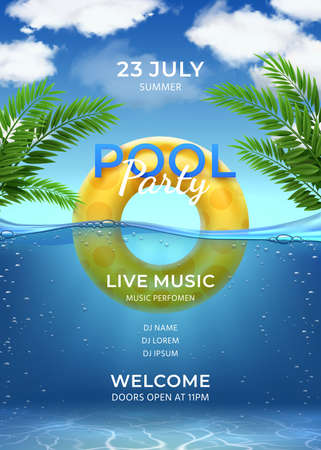 Pool party. Summer swimming party invitation template with inflatable ring, palm leaves, water and sky with clouds, realistic vector poster