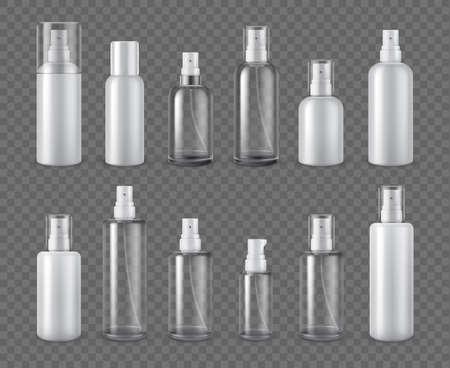 Spray bottles. Realistic cosmetic aerosol, deodorant or sprayer clear bottle package mockups. 3d plastic cream dispenser with cap vector set