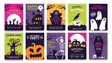 Posters for halloween party. Horror movie night flyer, ticket and trick or treat invitation with skeleton, zombie, scary pumpkin vector set