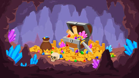 Treasure cave. Mine with pile of gold coins, crystals, old chest with map and gem, money bag and skull. Cartoon pirate treasury vector scene