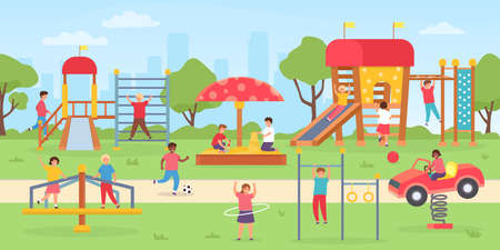 Kids playground at park. Group of children playing outdoor, on swings, slide and game house. Flat city park with boys and girls vector scene 向量圖像