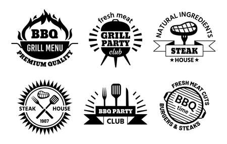 Bbq logo. Barbecue and steak house emblems for restaurant menu. Bbq club labels with hot grill, meat, sausage and cooking tools vector set
