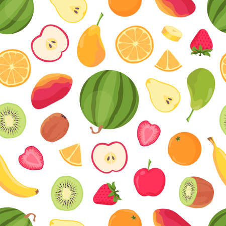 Fruits seamless pattern. Tropical citrus fruit and berry, banana, orange, watermelon, mango and strawberry. Summer tropic food vector print 向量圖像